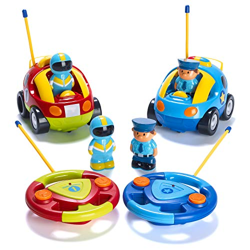 Prextex Pack of 2 Cartoon R/C Police Car and Race Car Radio Control Toys