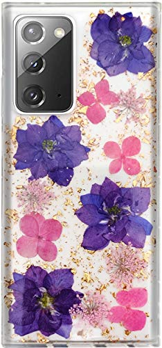 Aokebr Real Flowers Case for Samsung Galaxy Note 20 Pressed Dry Petals Glitter Bling Glitter Sparkle Thin TPU Soft for Girl Women Samsungnote20 Galaxynote20 (Purple)