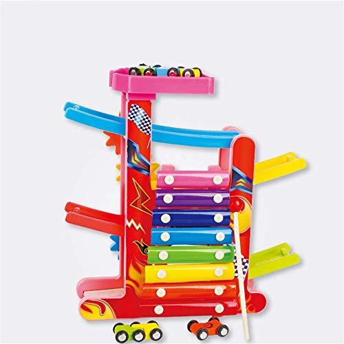 Dirgee Holzblock Pädagogische Spielzeug Mini Auto Parkplatz Kinderauto Gangway Racing Hand Kleinkind Spielzeug Klingeln Klavier mit Zahnrädern (Farbe: Mehrfarbig, Größe: Freie Größe)