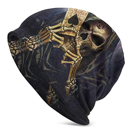 XCNGG Unisex Beanie Caps 3D Impreso Skull Play Poker Cards Ace Adult Comfortbale Soft Slouchy Collection Sombreros de Punto Skull Cap Winter Summer Ski Baggy Hat Negro