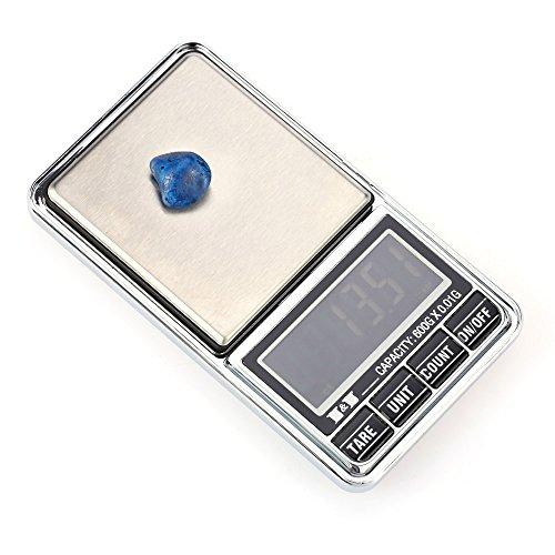 KKmoon Mini Báscula profesional digital electrónica de Joyería de la Escala Bolsillo Escala Balanza de precisión 600g*0.01g / 1000g*0.1g