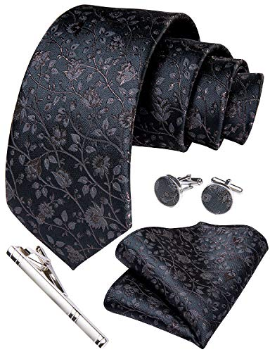 Herren-Krawatte und Einstecktuch, Paisley-, Blumenmuster, Manschettenknöpfe, Krawattenklammer, Set für Hochzeit und Geschäft Gr. Medium, Dunkelgrau/braunes Blumenmuster