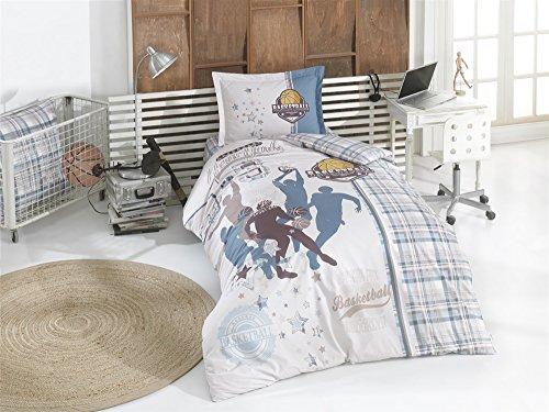 TI Home Clasy Asist V2 Gray Basketball Duvet Cover Set, 100% Cotton Ranforce Fabric Single Size 3-Pieces Bedding Set