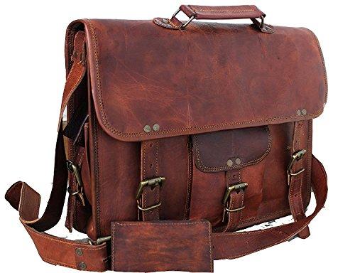 "Handmade Leather Messenger Bags for Men Women 18"" Mens Briefcase Laptop Bag Best Computer Shoulder Satchel School Distressed Bag (13"" X 18"")"