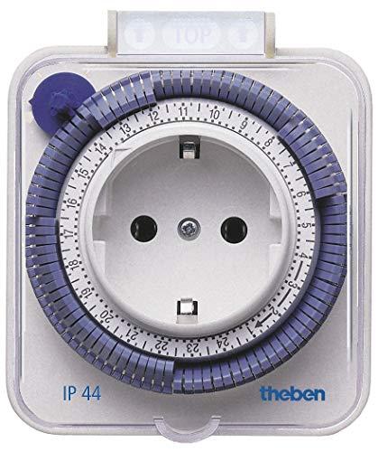 Theben 0260855 theben-timer 26 IP 44 - analoge Zeitschaltuhr für den Außenbereich, Steckdosen-Schaltuhr, Zeitprogrammstecker, Zeitschalter, bis zu 400 W Schaltleistung