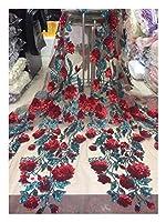 ファブリック ウェディングドレスのスカートファブリック5ヤードに適した刺繍印刷プリティフラワーグリーンリーフ二色多層スパンコールアフリカナイジェリアレース DIYミシン (Color : Purple)