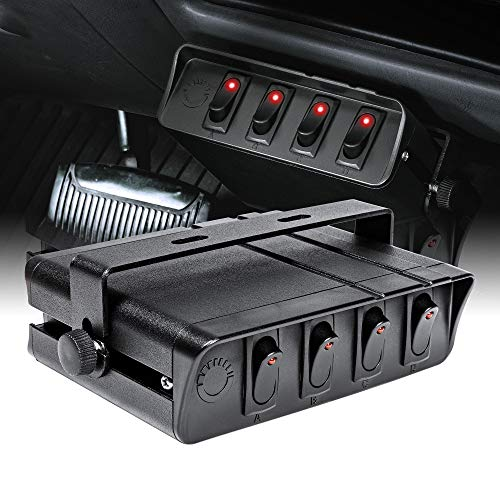4-Gang 12V Rocker Switch Box [20 Amp Max.] [12 AWG Wires][12 Volt DC] SPST On/Off Rocker Toggle Switch Panel Box for Auto Automotive Lights Car Marine Boat Truck Vehicles & More