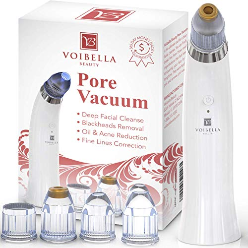Voibella Pore Vacuum Blackhead Remover – Best Electric Comedone Extractor, Pore Cleanser Suction & Microdermabrasion Cleaning Tool - Removal of Whiteheads, Acne, Pimples & Zits On Nose, Face & Skin