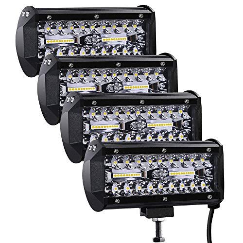 Focos LED Tractor, 2pcs 7 240W 24000LM Faros Trabajo LED 24V Barra LED IP68 Impermeable Faros Luz de Niebla para Coche,SUV, UTV, ATV, Off-road,Camión,Moto,Barco (7 120W-4pcs)