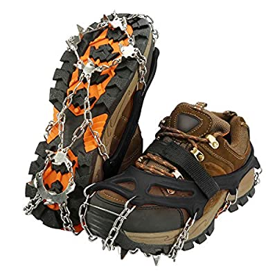 IPSXP Traction Cleats, Ice Snow Grips Crampons for Footwear with 19 Stainless Steel Spikes for Walking, Jogging, Climbing, Hiking on Snow and Ice