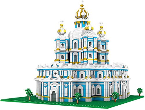 Bloques De Construcción De Niños Mini Juego 3737PCS Arquitectura Rusa Smolny Church City Landscaping Diamond Construction Juguete para Niños