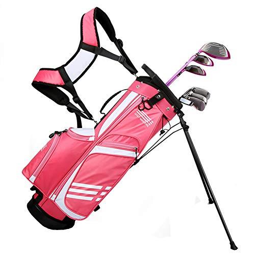 AMAIRS Golftasche, Kinder Golf Stand Tasche Kinder Leichte Golf Club Tasche Tragbare U-Förmige Schwamm Doppelschultergurt Multifunktionale Aufbewahrungstasche,Rosa,L