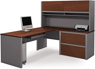 Bestar Connexion L-Shaped Desk with Two Oversized Drawers, Bordeaux/Slate