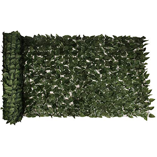 Oupada Peach Leaf Privacy Trellis Fence Screen, Natural Looking Artificial Hedge for Indoor/Outdoor Decoration Trellis Privacy Screen Mesh, for Outdoor Decor, Garden, Yard 196.85'X59.06'.