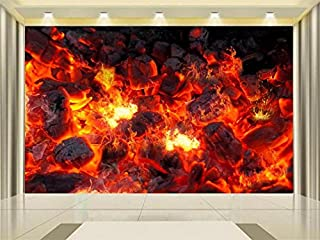 3D Wallpaper Photo Wallpaper Custom Mural Living Room Live Charcoal Flame Burning Painting TV Background Wallpaper for Walls 3d-200X140CM