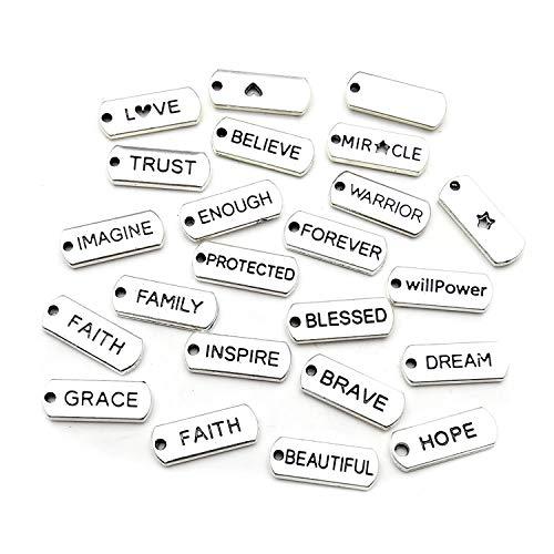 WOCRAFT - 40 colgantes con palabras inspiradoras para manualidades, abalorios, para manualidades, joyería, accesorios para hacer collares y pulseras M334