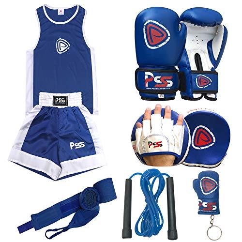 Prime Leather - Juego de 6 piezas de guantes de boxeo para niños de 3 a 10 años + almohadilla de enfoque para niños 1108 azul 1007 azul 6 oz + envoltura + llavero + cuerda de saltar, 1108 Blue, 5-6 años