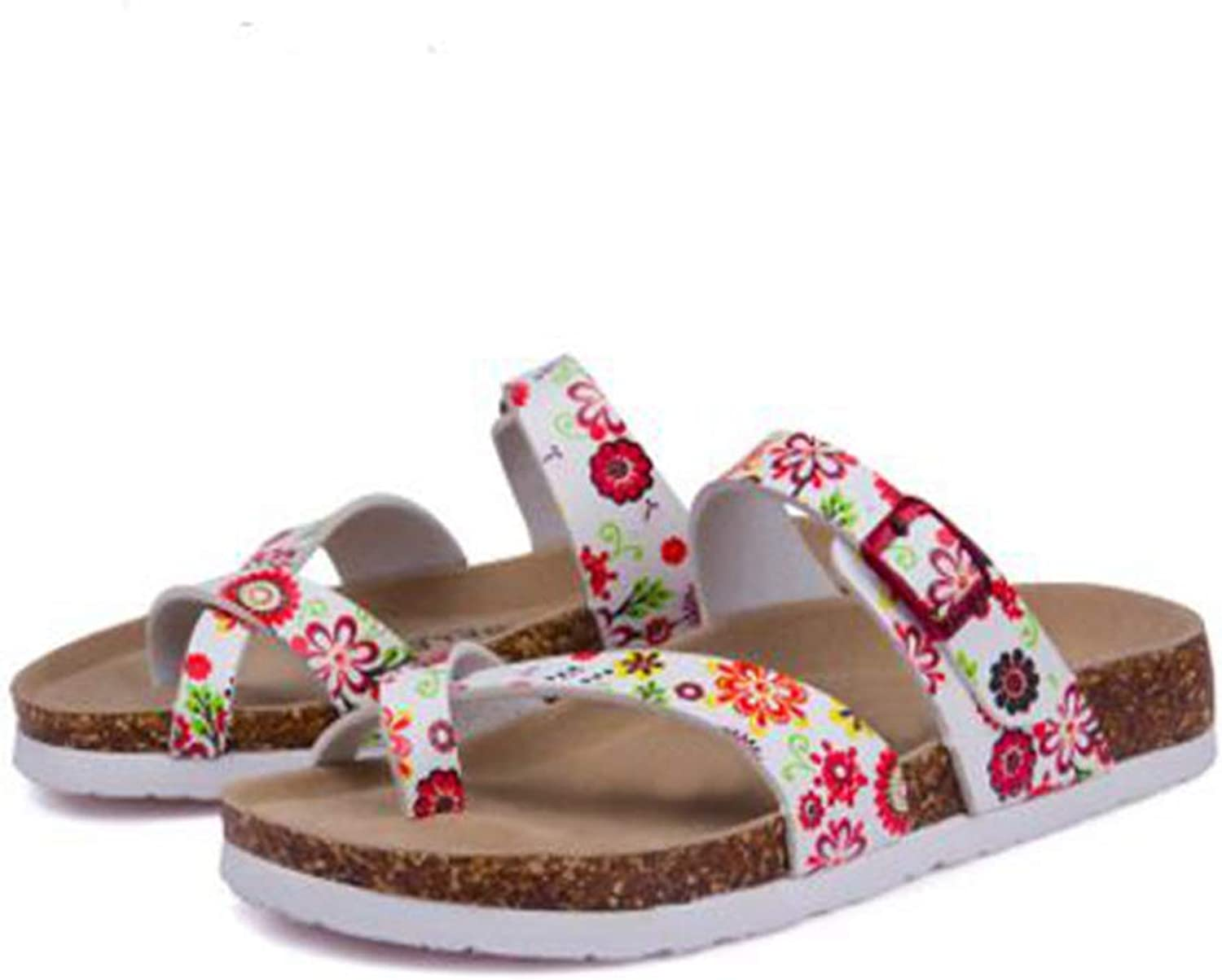 YaMiFan Women's Slide Flat Cork Sandals with Adjustable Strap Buckle Open Toe