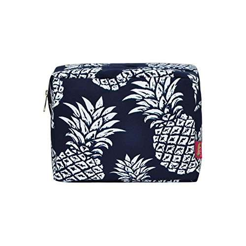 N. Gil Large Travel Cosmetic Pouch Bag 2 (Pineapple Navy Blue)
