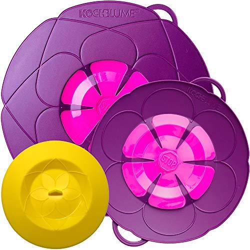Kochblume vom Erfinder Armin Harecker [2er Set] L 29cm + S 22cm lila | für Topfgrößen von Ø 14 bis 24 cm | mit Frischhaltedeckel gratis
