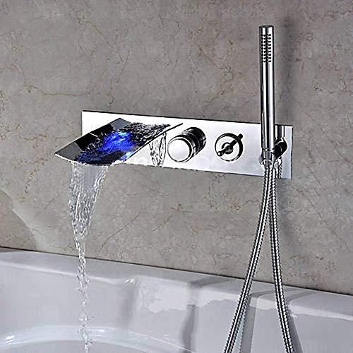 BINGFANG-W La temperatura de pared en cascada Cuenca del grifo del lavabo del agua caliente y fría de la descoloración de Split Lavabo Hermosa práctica Ducha