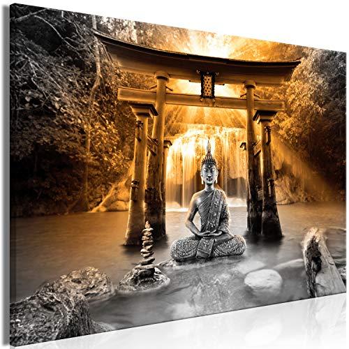 murando Cuadro en Lienzo Buda 120x80 cm impresión en Material Tejido no Tejido impresión artística fotografía Imagen gráfica decoración de Pared - Paisaje Zen Cascada Naturaleza p-A-0033-b-c