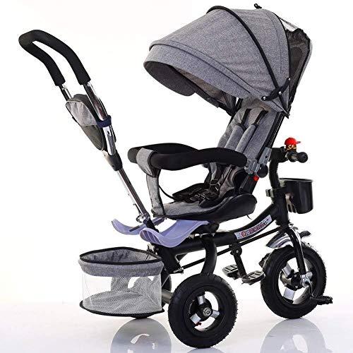 TZZ Leichtes Baby-Dreirad, verstellbares Verdeck, mit 5-Punkt-Sicherheitsgurt, Stoßdämpfung Infant Kinderwagen Fahrrad, for Kleinkind-Jungen/Mädchen, 7 Monate - 6 Jahre (Farbe : Grau)
