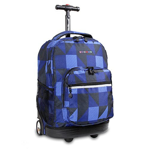J World New York Sunrise Rolling Backpack, Block Navy, One Size
