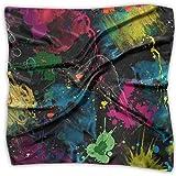 Pañuelo para mujer de moda, suave, cuadrado, psicodélico, colorido graffiti pañuelo, satén de seda de gasa, cuello de cabeza, bufandas de poliéster multiusos