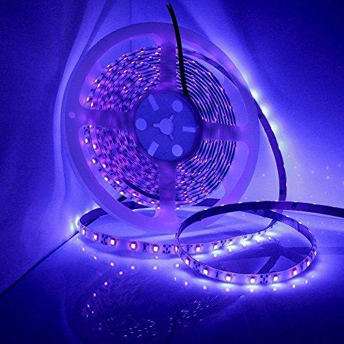 Striscia LED UV nera, striscia LED viola 16,4ft / 5m 12V SMD3528 300 LED UV Blacklight non impermeabile non rivestito (senza adattatore di alimentazione)