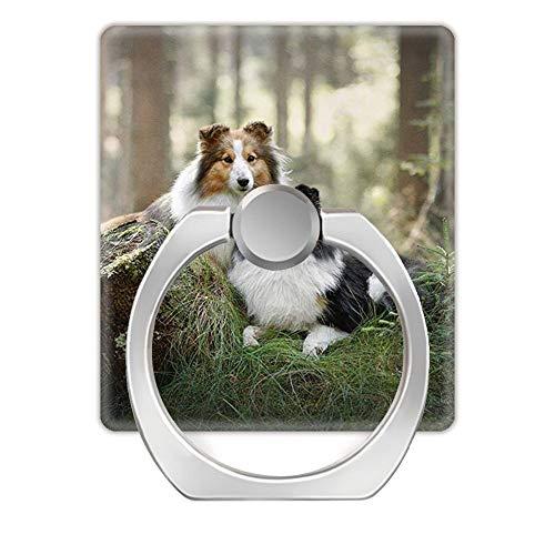 Z861 Soporte de Anillo Giratorio de 360 Grados para teléfono móvil para Cualquier Smartphone-Magnificent Sheltie Dog Couple