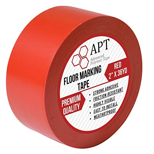"""APT, Multi Color Marking Tape, Premium Safety Marking and Dance Floor Splicing Tape, 6 mil Thick (2"""", 1 Roll, Red)"""