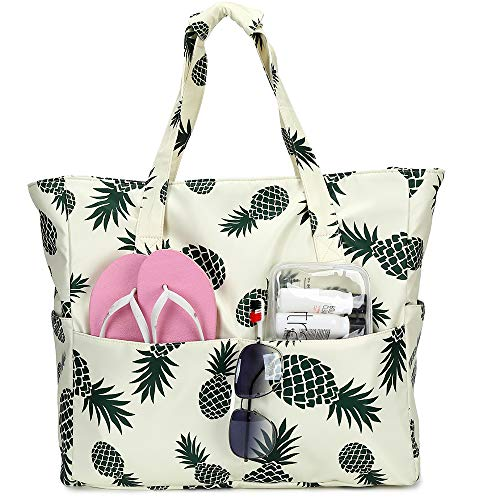 Large Beach Tote Bag Women Waterproof Sandproof Pineapple Zipper Beach Tote Bag Pool Gym Grocery Travel with Wet Pocket