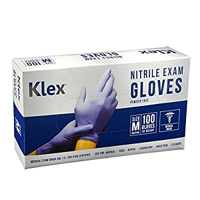 Klex Nitrile Exam Gloves - Medical Grade, Powder Free, Latex Rubber Free, Disposable, Food Safe, Lavender M Medium