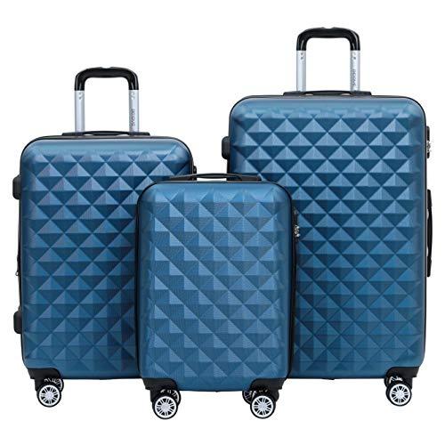 BEIBYE Trolley Koffer Reisekoffer Reisekofferset Gepäckset Kofferset 4 Zwillingsrollen Hartschale (Blau)