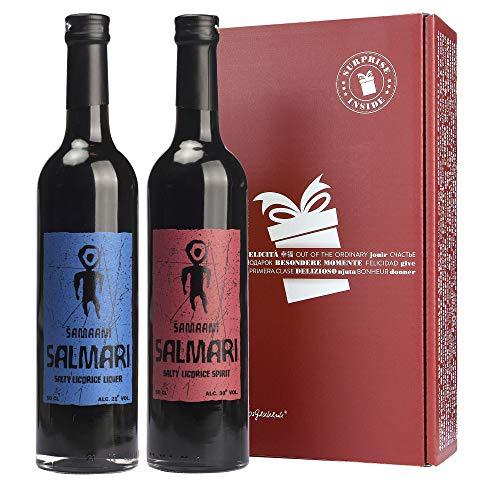 Samaani Salmari Lakritz-Liköre Geschenk-Set Finnland (2 x 500 ml Flasche in Geschenkverpackung)