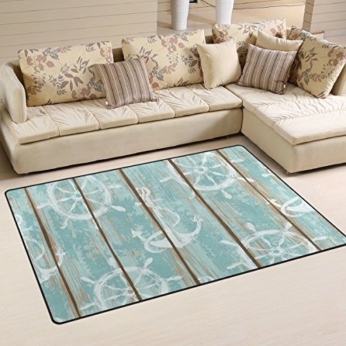 Sunlome Boards of Ship Deck Nautical Anchor Area Rug Rugs Non-Slip Indoor Outdoor Floor Mat Doormats for Home Decor 60 x 39 inches