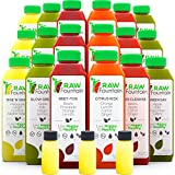 3 Day Juice Cleanse by Raw Fountain, All Natural Raw, Cold Pressed Fruit and Vegetable Juice, Detox Cleanse, 18 Bottles 16oz, 3 Ginger Shots