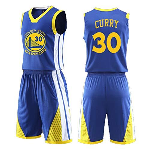 Dybory Erwachsene Basketball-Uniform Sportbekleidung NBA Golden State Warriors #30 Stephen Curry Basketball-Trikot-Set, 2-teilig, schnell trocknende Netz-Weste + Shorts, blau, L
