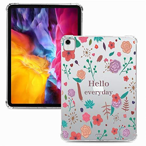 Miagon Weich Dünn Hülle für iPad Pro {11 Zoll} 2018,Kreativ Durchsichtig Bunt Muster Clear Leicht TPU Crystal Bumper Schutzhülle Cover mit Airbag Ecke,Blume