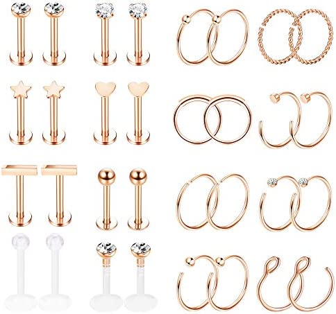 Jstyle 32Pcs Stainless Steel Nose Rings Hoop Labret Monroe Lip Ring Tragus Cartilage Helix Ear Piercing Jewelry 16G/20G