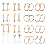 Jstyle 32Pcs Stainless Steel Nose Rings Hoop Labret Monroe Lip Ring Tragus Cartilage Helix Ear Piercing Jewelry 16G/20G Rose-gold