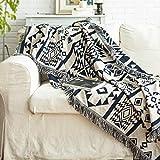 Aztec Boho Decor Throw Blanket - Cotton Woven Southwestern Tassels Cozy Reversible Throw Blanket...