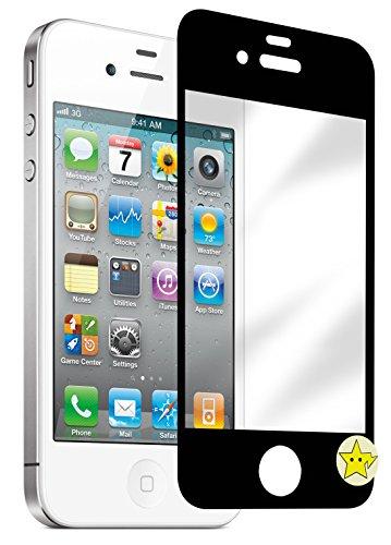 BASTEX Displayschutz für iPhone 4S, Hartglas, mit Home-Button-Aufkleber, Schwarz