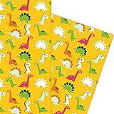 Kartenkaufrausch Lustiges Comic Dinosaurier Kinder Geschenkpapier Set als edle Geschenk Verpackung, 4 Bögen Musterpapier, Dekorpapier zum basteln 32 x 48cm, auf gelb