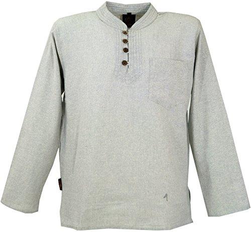 GURU SHOP Nepal Ethno Fischerhemd mit Kokosknöpfen, Goa Hemd, Freizeithemd mit Stehkragen, Herren, Grau, Baumwolle, Size:XXL, Hemden Alternative Bekleidung