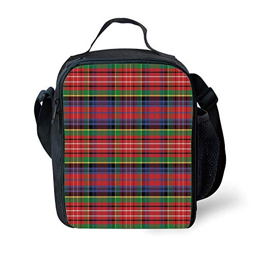 School Supplies Red Plaid,Scottish Traditional Skirt Pattern Tartan Motif Abstract Squares Ornate Quilt Decorative,Multicolor for Girls or Boys Washable