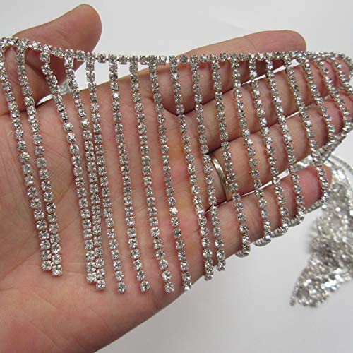 30cm Bling Diamante Diamond Trim Ribbon Tassel Fringe Rhinestone 8cm Width Chain Crystal Gem Sparkle Wedding Bridal Necklace Prom Evening Dress Applique Party Show Accessories Sash Belt Headwear Craft