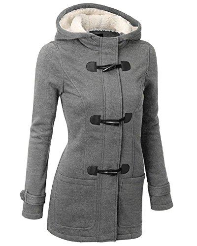Mujer Invierno Abrigo Casual Sudadera con Capucha Chaqueta de Capa Jacket Parka Pullover Gris Claro M