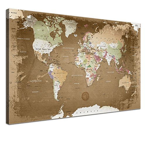 """LANA KK - Weltkarte Leinwandbild mit Korkrückwand zum pinnen der Reiseziele – """"Weltkarte Oldstyle"""" - deutsch - Kunstdruck-Pinnwand Globus in braun, in 100x70cm"""